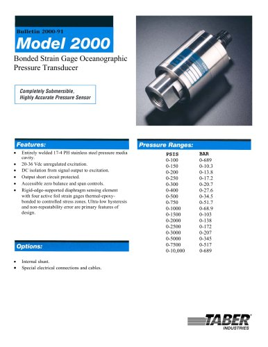 Ocean Submersible/Oceanographic Pressure Transducers Model 2000