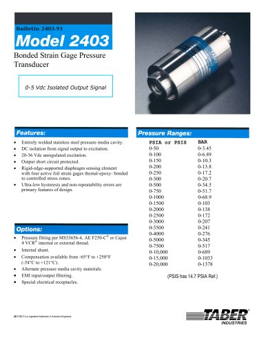 Taber Aerospace Transducers Model 2403