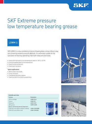 SKF Extreme Pressure, Low Temperature Bearing Grease LGWM 1