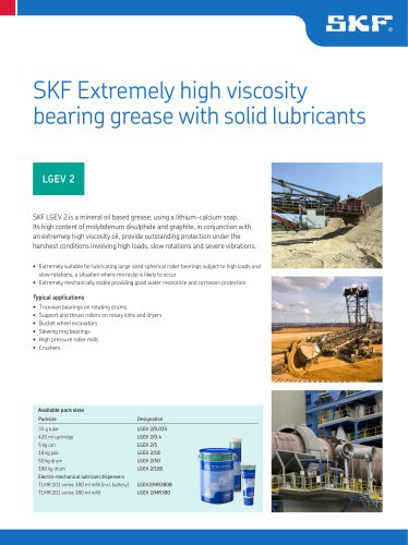 SKF Extremely high viscosity bearing grease with solid lubricants LGEV 2