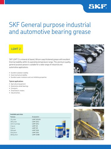 SKF General purpose industrial and automotive bearing grease LGMT 2