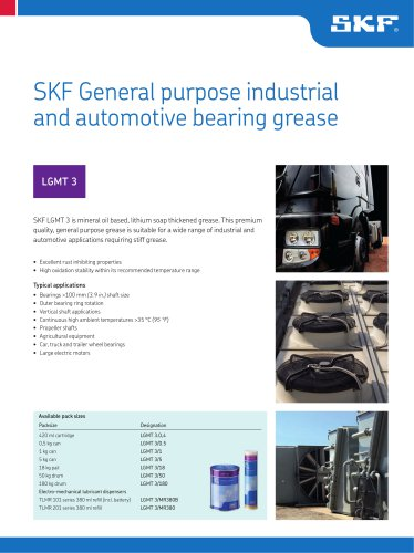 SKF General purpose industrial and automotive bearing grease LGMT 3