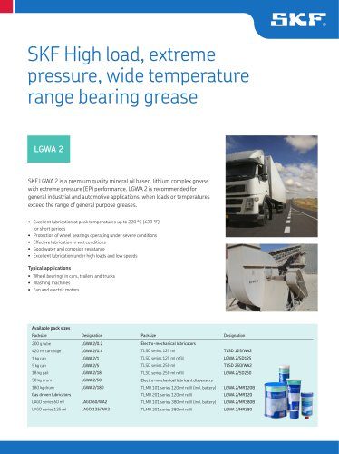 SKF High Load, Extreme Pressure, Wide Temperature Range Bearing Grease LGWA 2