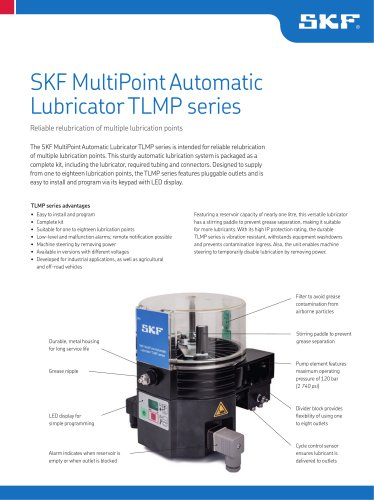 SKF MultiPoint Automatic Lubricator TLMP series