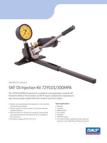 SKF Oil Injection Kits 729101 series