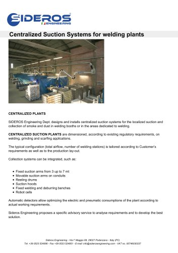 Centralized Suction Systems for welding plants