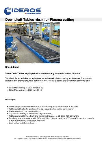 Downdraft Tables  for Plasma cutting