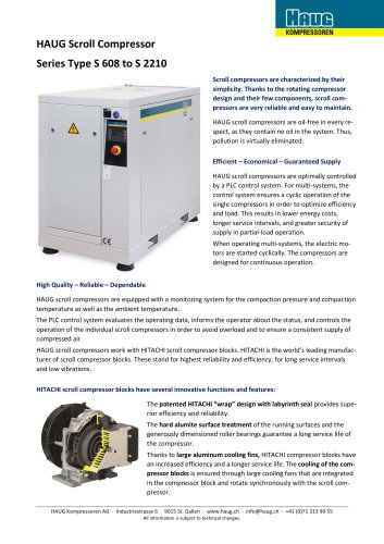HAUG Scroll compressors for oil-free compressed air