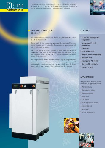 OIL-FREE AIR COMPRESSORS TOC UNIT - 7.5 to 30 kW