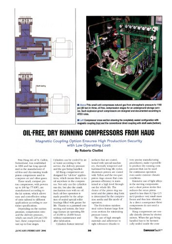 Oil-free, dry running compressors