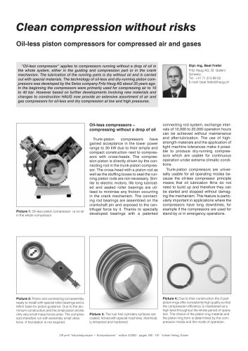Oil-less piston compressors for compressed air and gases