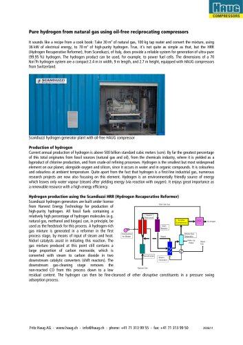 Pure hydrogen from natural gas using oil-free reciprocating compressors VTOG
