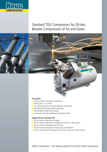 Standard TOG Compressors for Oil-less Booster Compression of Air and Gases