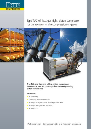 Type TUG oil-less, gas-tight, piston compressor for the recovery and recompression of gases