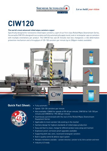 automatic capping machine for lids of rolled wipes in canisters.