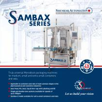 SAMBAX SERIES  Monoblock packaging machines for containers and vials.