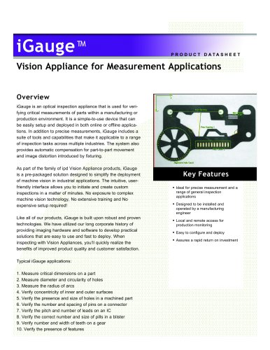 Vision Appliance for Measurement Applications igauge