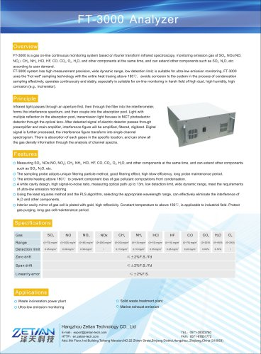 Zetian/gas online monitoring/emission control/flue gas real-time monitoring/FT-3000/waste to energy power plant/