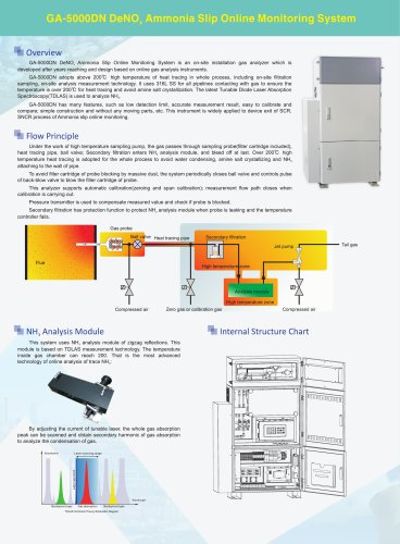 zetian/online monitoring system/TDLAS/ammonia slip/NH3/industrial process/GA-5000DN/iron making, steel making, coking, refining, petrochemical, flue gas, cement, thermal power