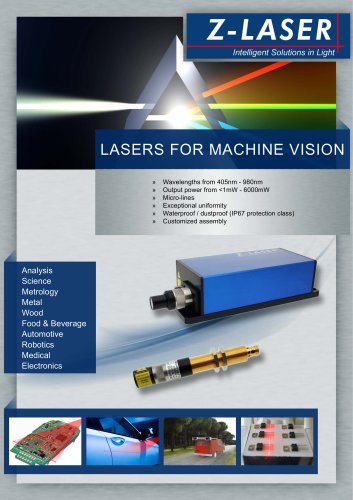 Lasers for machine vision