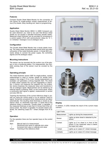 Klaschka_Double Sheet Metal Control BDK Compact (2 pages)