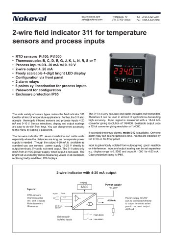 2-wire field indicator 311 for temperature sensors and process inputs