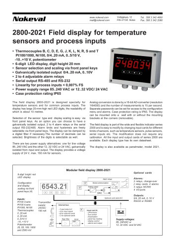 2800-2021 Field display for temperature sensors and process inputs