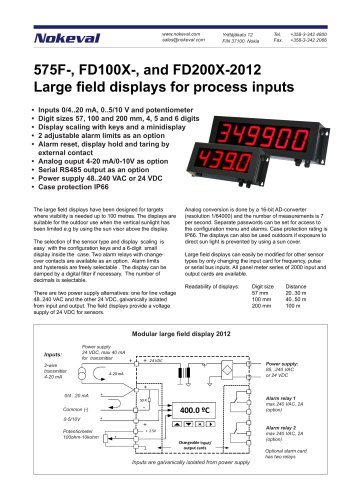 575F-, FD100X-, and FD200X-2012 Large field displays for process inputs