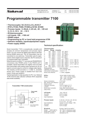 7100 Programmable transmitter to RS-485 bus