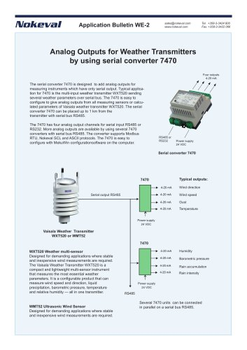 Analog Outputs for Weather Transmitters  by using serial converter 7470