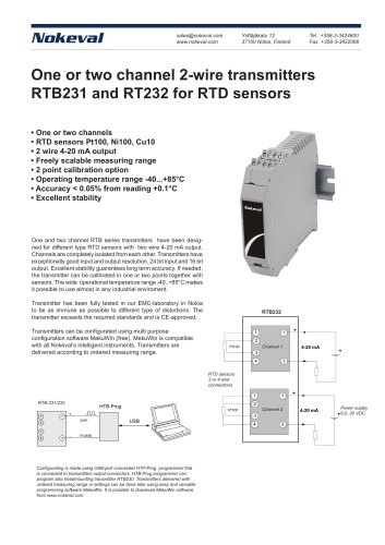 One or two channel 2-wire transmitters  RTB231 and RT232 for RTD sensors