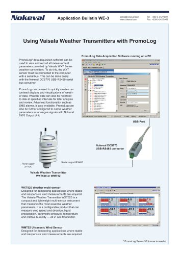 PromoLog and Vaisala WXT Weather Transmitters