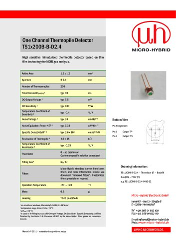 One Channel Thermopile Detector TS1x200B-B-D2.4