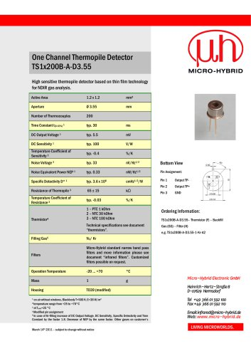 Technical Data One  Channel Thermopile  Detector TS1x200B-A-D3.55