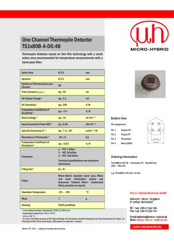 technical data One Channel Thermopile Detector TS1x80B-A-D0.48