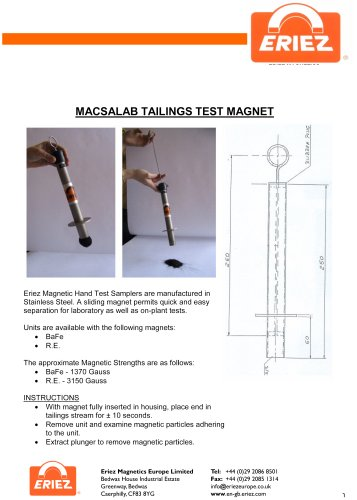 Eriez Tailings Test Magnets