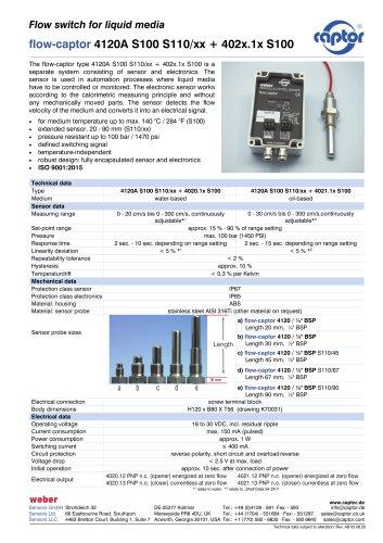 flow-captor 4120A S100 S110/xx + 402x.1x S100