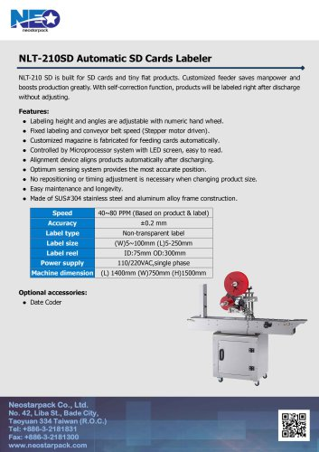 Automatic Top Labeler for Sd Cards NLT-210SD
