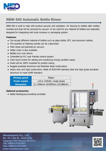 NBW-565 Automatic Bottle Rinser