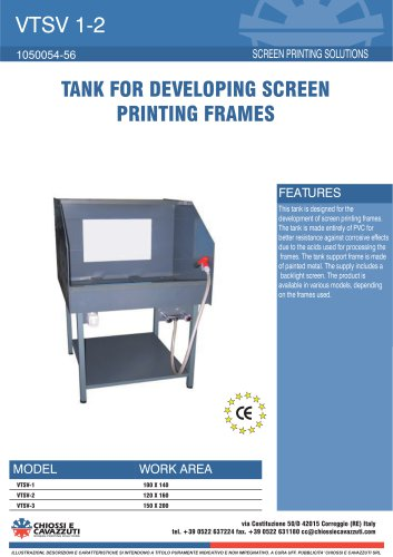 TANK FOR DEVELOPING SCREEN PRINTING FRAMES