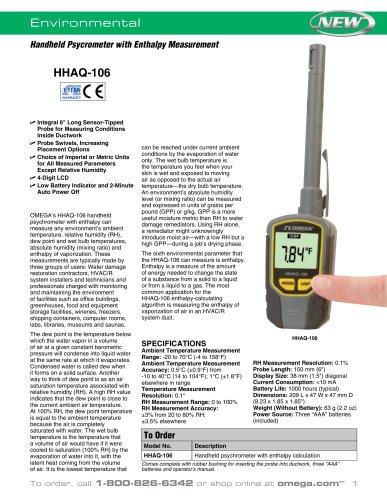 Handheld Psycrometer with Enthalpy Measurement
