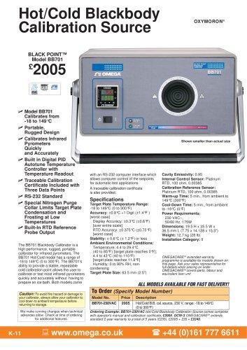 Hot/Cold Blackbody Infrared Calibrator  BB701