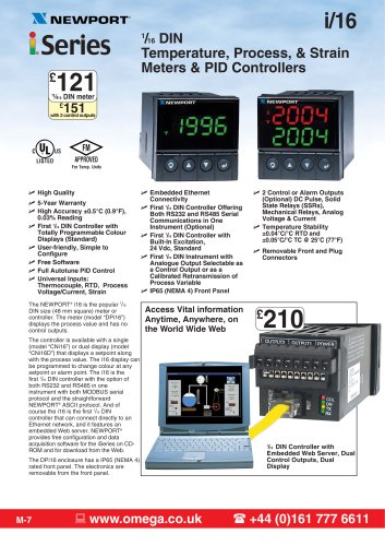 i-Series 1/16 DIN Temperature/Process Panel Meters