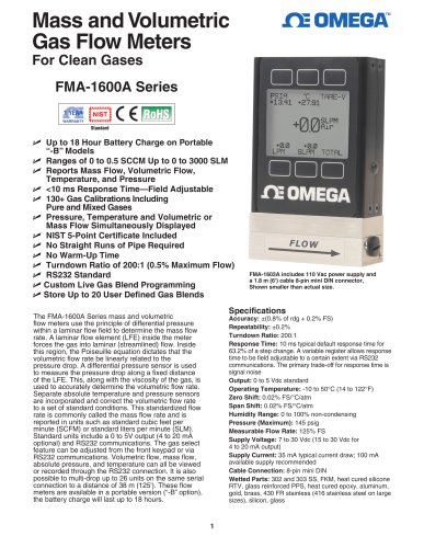 Mass and Volumetric Gas Flow Meters