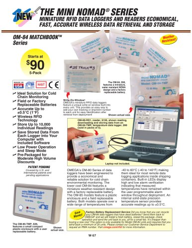 Miniature RFID Data Loggers and Readers OM-80 Series