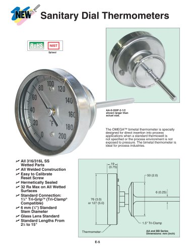 Sanitary Dial Thermometers