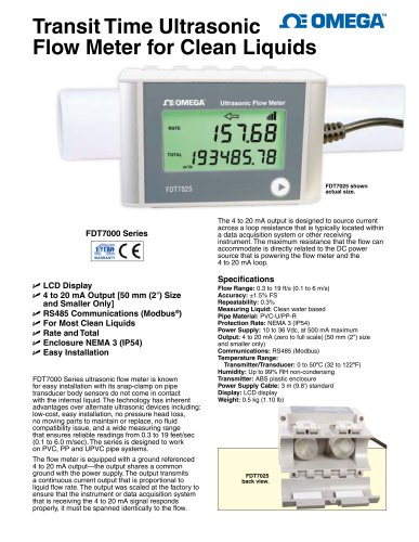 Transit Time Ultrasonic Flow Meter for Clean Liquids