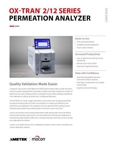 OX-TRAN 2/12 Series OTR Permeation Analyzer