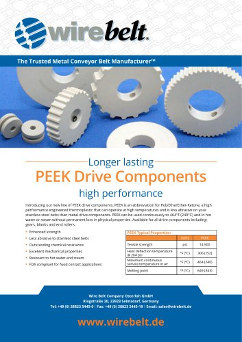 Wire Belt PEEK Drive Components
