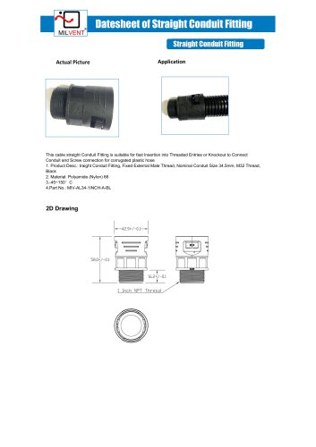 1 INCH Straight Conduit Fitting for AD34.5 HOSE